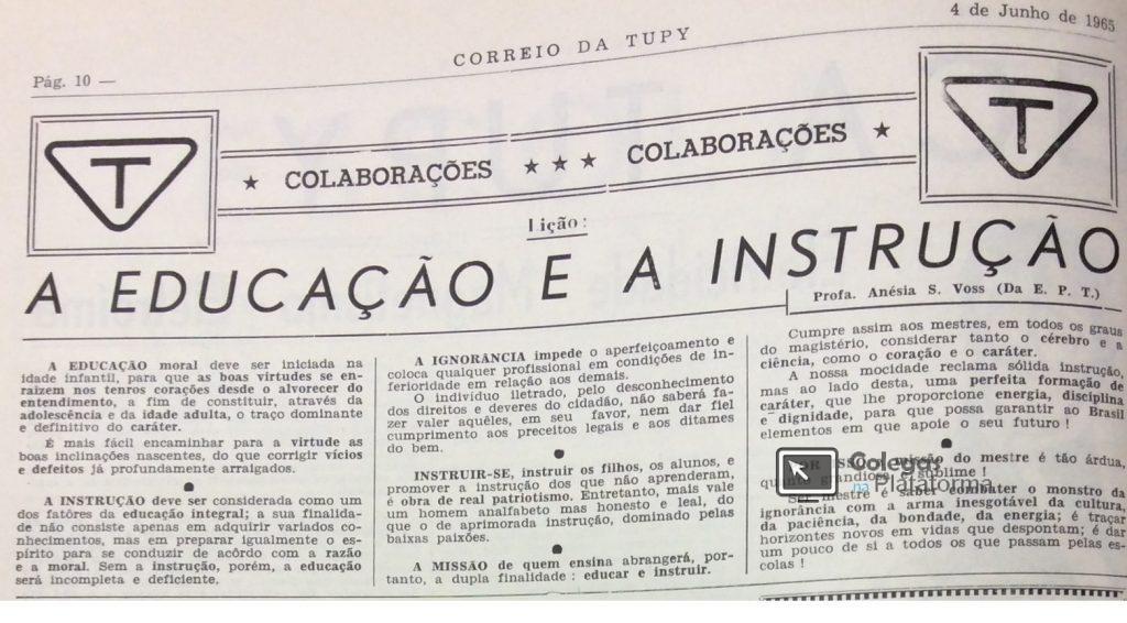1965 matéria A Educação e a Instrução