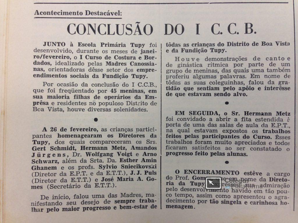 1º Curso de Corte e Costura e Bordados - 03/1962